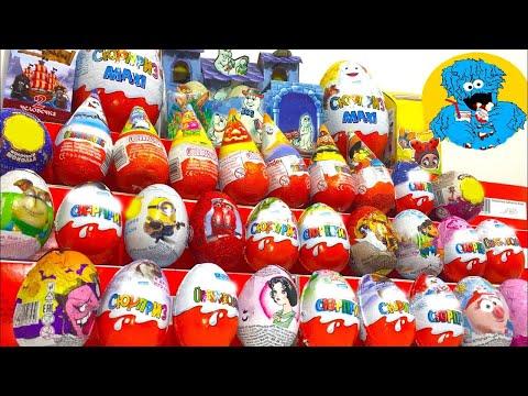 40 Киндер Сюрпризов,Unboxing Kinder Surprise Робокар Поли,New Kinder Maxi,Миньоны,Фиксики Хэллоуин