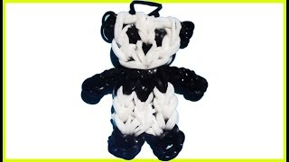 🌈 How to make loom bands animals easy Panda | Bear with forks charms for kids tutorial DIY