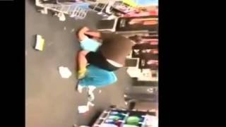 Hugely Fat Walrus-Woman goes berserk in Walmart