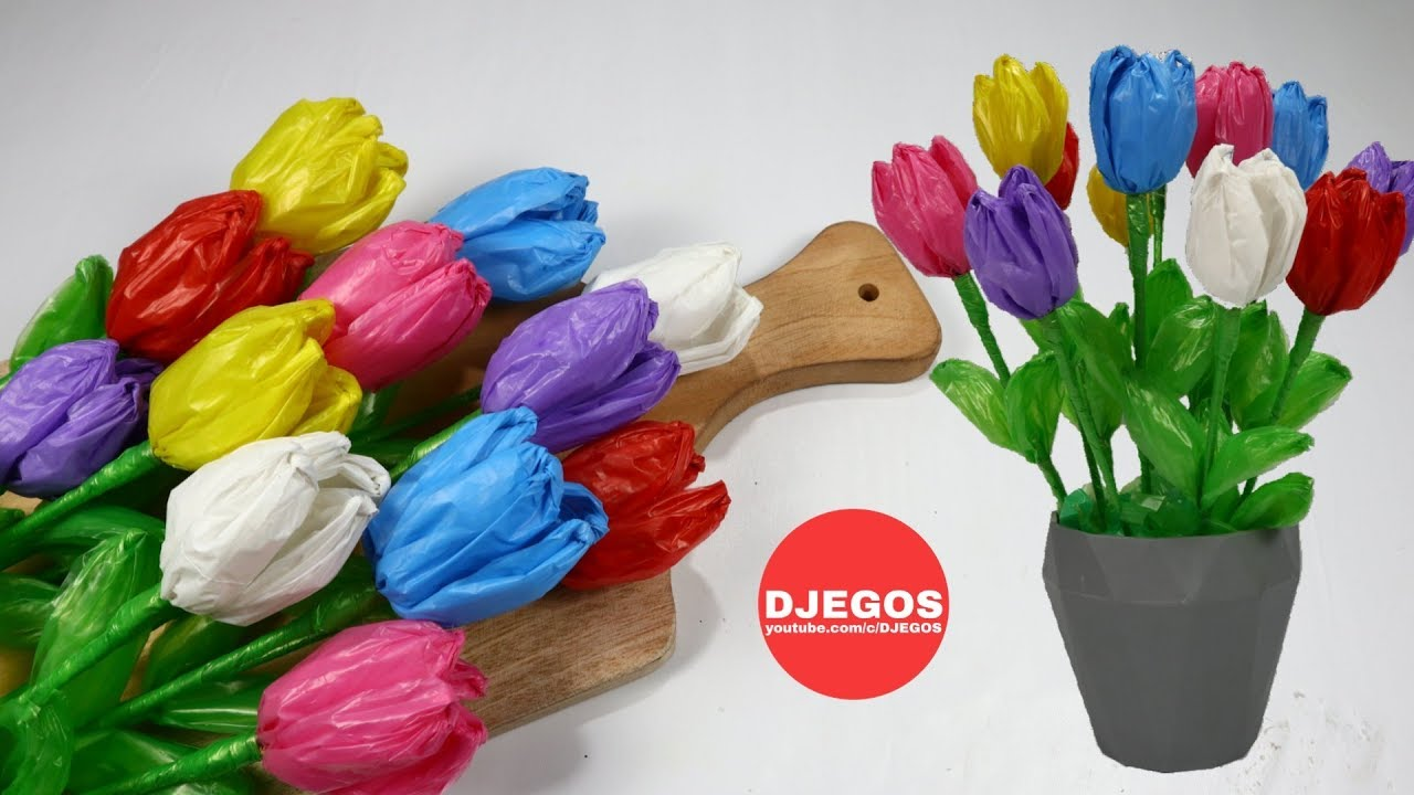 Bunga Tulip Yang Indah Dari Plastik Kresek Bekas Beautifull Tulip From Carrying Plastic Bags Youtube