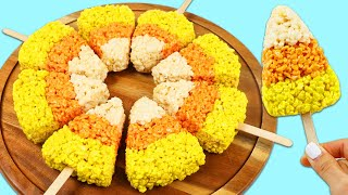 How to Make Delicious Candy Corn Shaped Rice Krispy Treats | Fun & Easy DIY Halloween Desserts!