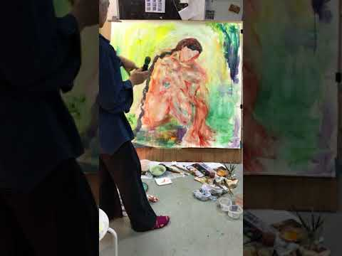 Artist Rea Stavropoulos at work in the studio 2018