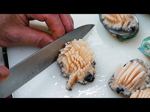 Korean Street Food - ABALONE Sashimi Seafood Soup Korea
