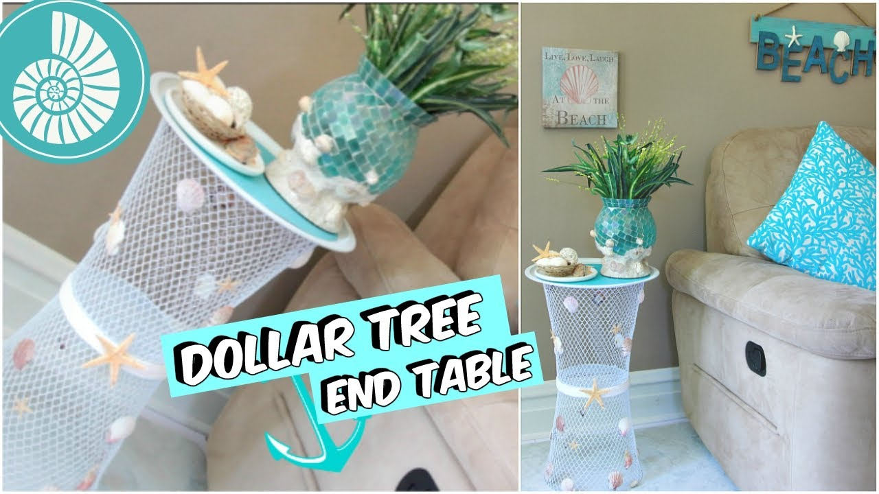 Dollar tree end table beach decor tutorial youtube for Wedding table organizer