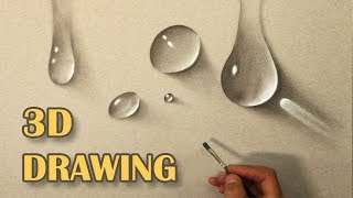 Drawing of water drops/ Life Like DRAWING/ How To Paint hyperrealistic 3D