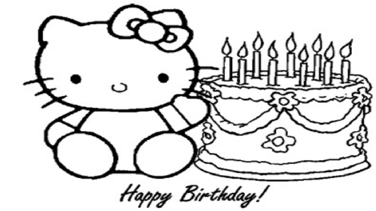 how to draw hello kitty and birthday cake education drawing videos