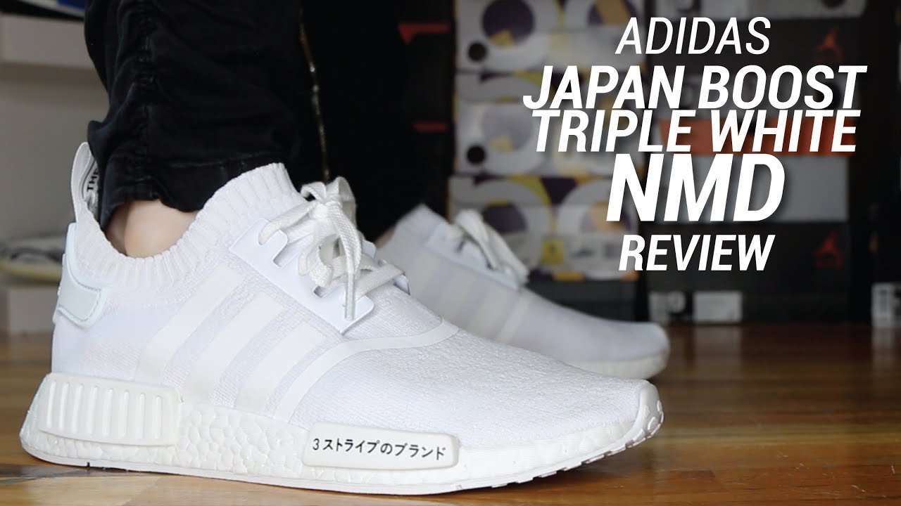 12b00a188ff85 ADIDAS NMD R1 JAPAN BOOST TRIPLE WHITE REVIEW - YouTube