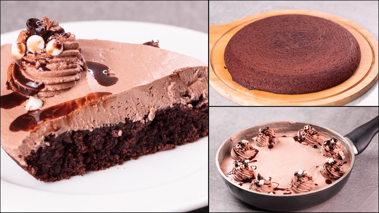 EASY 10 MIN. CHOCOLATE CAKE IN FRYING PAN   EGGLESS & WITHOUT OVEN   CHOCOLATE SPONGE CAKE   N'Oven - Lets cooks and satisfy those buds