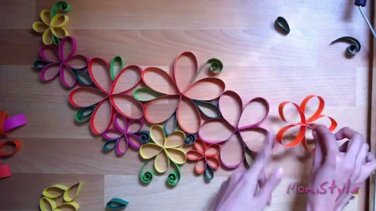 Diy guia con flores de papel wall decor paper flowers for Flower decoration made of paper