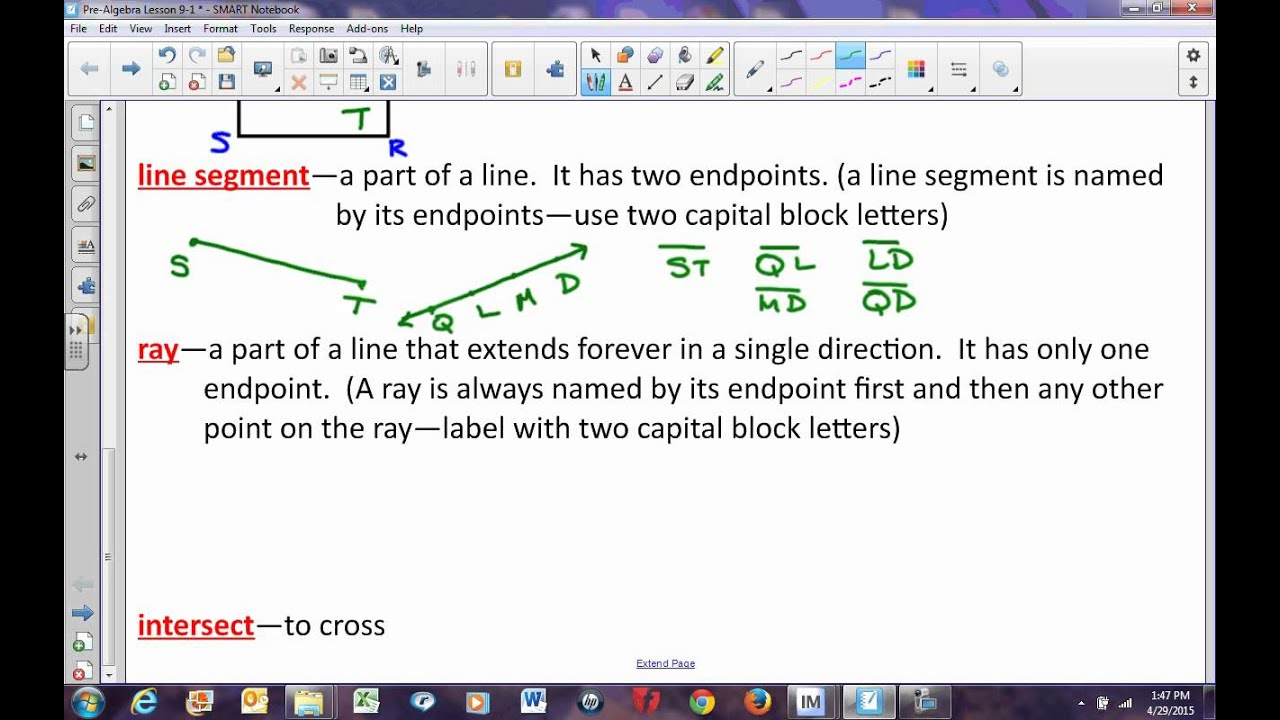 Pre Algebra Lesson 9 1 Introduction To Geometry Points Lines Planes