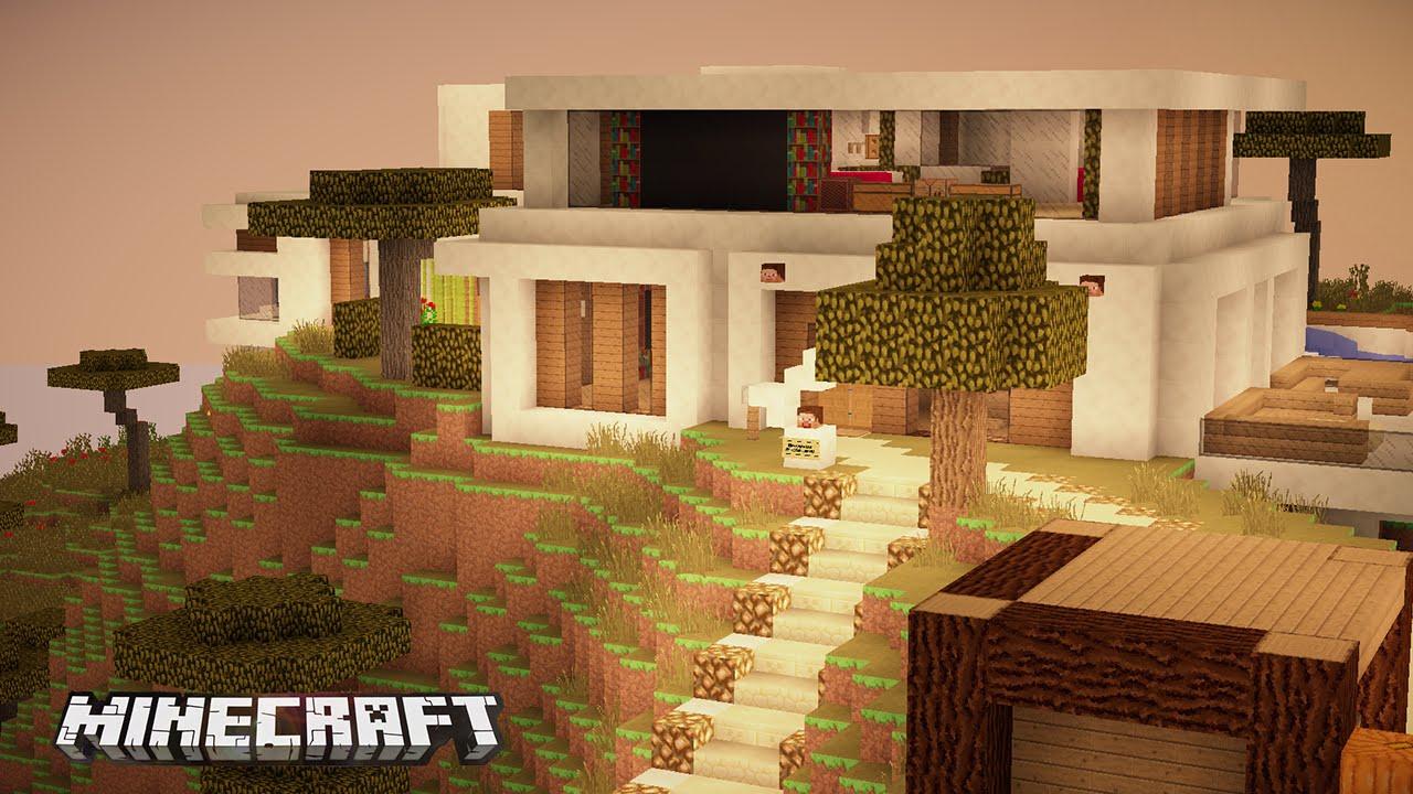 casa funcional y moderna con cine en minecraft youtube