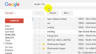 How to find the large mails in size in Gmail