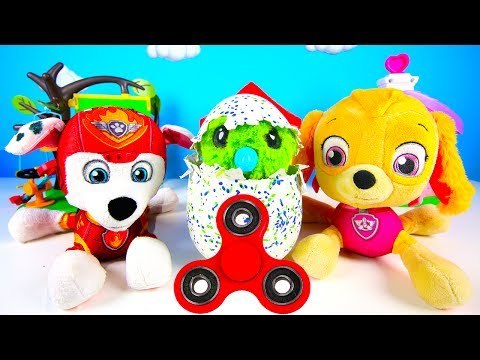 Paw Patrol Learning Colors with Hatchimals and Fidget Spinner, Skye and Marshall Surprise