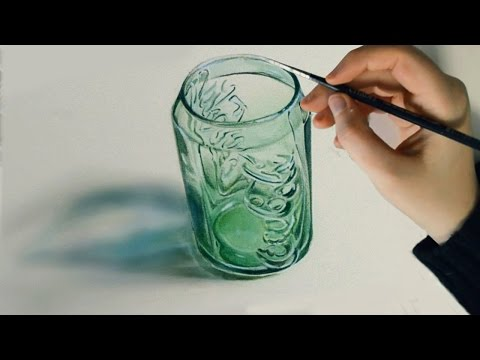 Drawing Time Lapse: Coca Cola Green Glass | hyperrealistic art