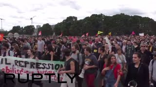 Police & protesters flood Paris streets as trade unions protest labor reforms (streamed live)(Trade unions have taken to the streets of Paris to decry France's controversial labor reforms. Commonly referred to as the 'El Khomri law,' after French Labor ..., 2016-07-05T14:46:54.000Z)
