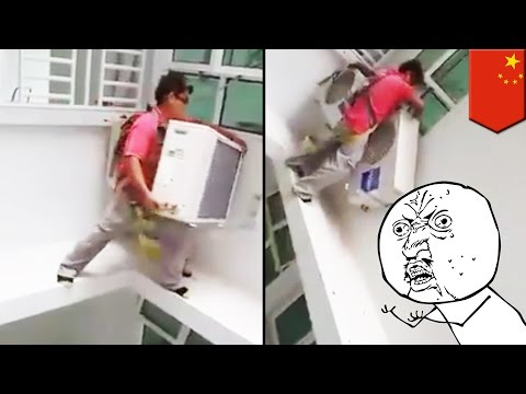 This video of a Chinese worker installing an aircon unit will give you vertigo - TomoNews
