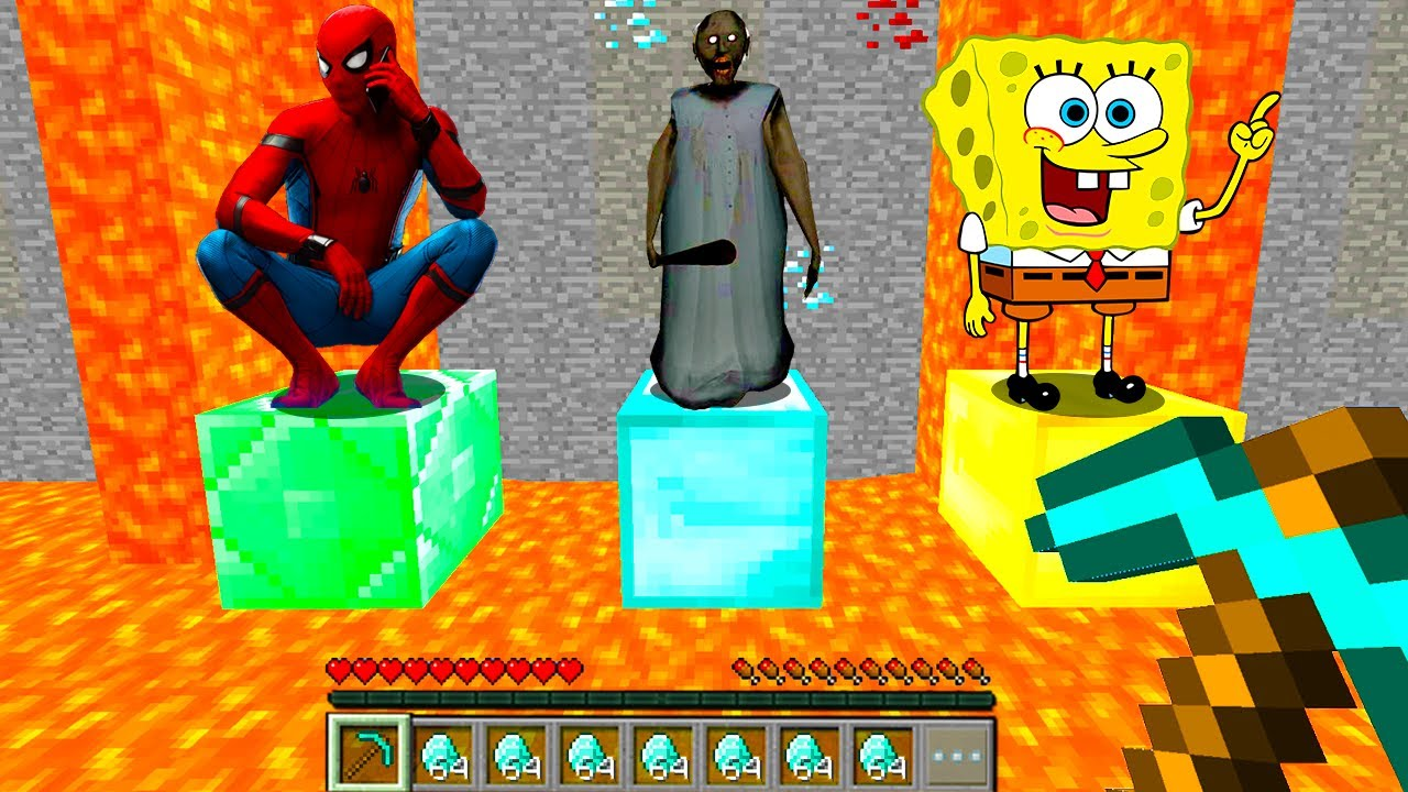 Minecraft PE : ONLY ONE Can Be SAVED - GRANNY or SPIDERMAN or SPONGEBOB in Minecraft!