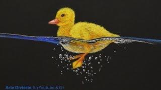 Cómo dibujar un pato amarillo nadando - Arte Divierte.