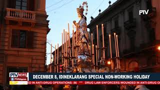 December 8, idineklarang Special Non-Working holiday