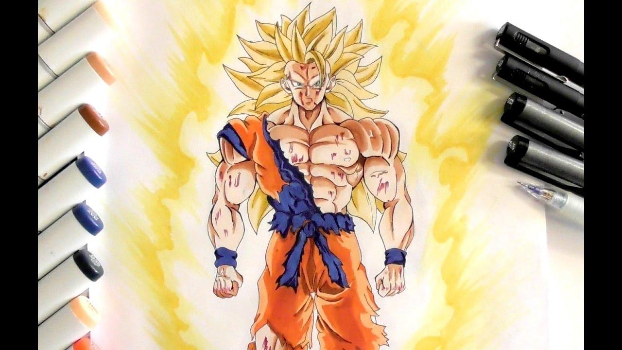 how to draw goku super saiyan 3