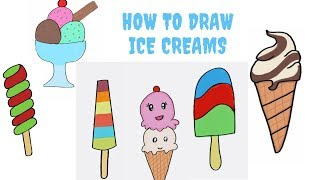 How to draw cute Ice Cream  | How to draw Ice Cream Cone, Ice cream bowl, Ice cream  pop