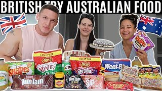 BRITISH try AUSTRALIAN SNACKS & FOOD for the FIRST TIME!