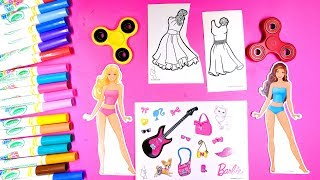 Coloring Pretty Dresses for Barbie with Stickers and Fidget Spinners Coloring Pages for Girls