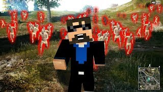 A MINECRAFT PLAYER SURVIVES AGAINST THE ZOMBIES IN PLAYER UNKNOWN'S BATTLEGROUNDS!!