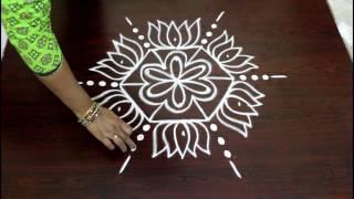 lotus kolam designs with 5 to 3 interlaced dots- easy rangoli designs with dots- muggulu designs