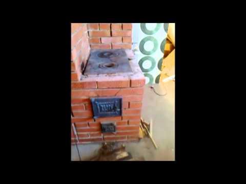 Печь с теплообменником из чугунной батареи