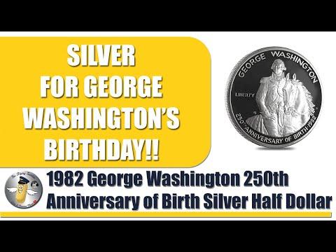 1982 George Washington 250th Anniversary Of Birth Commemorative Silver Half Dollar