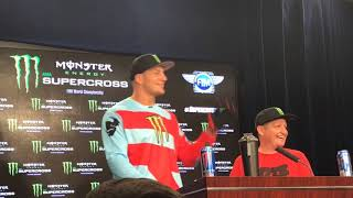 Rob Ninkovich Interviews Rob Gronkowski At Supercross Press Conference
