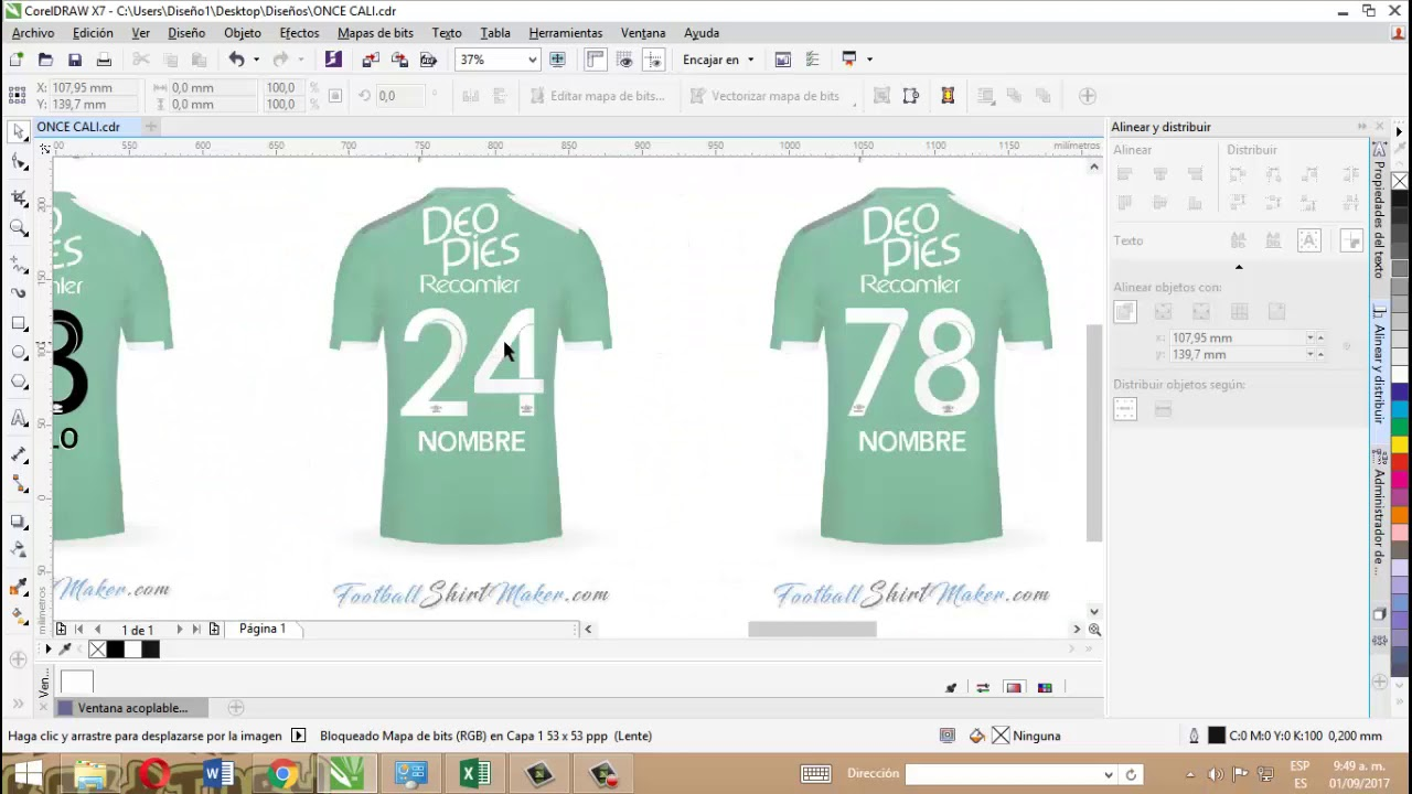 59237be3c8d10 Re dibujo de números de camisetas de fútbol en Corel Draw. - YouTube