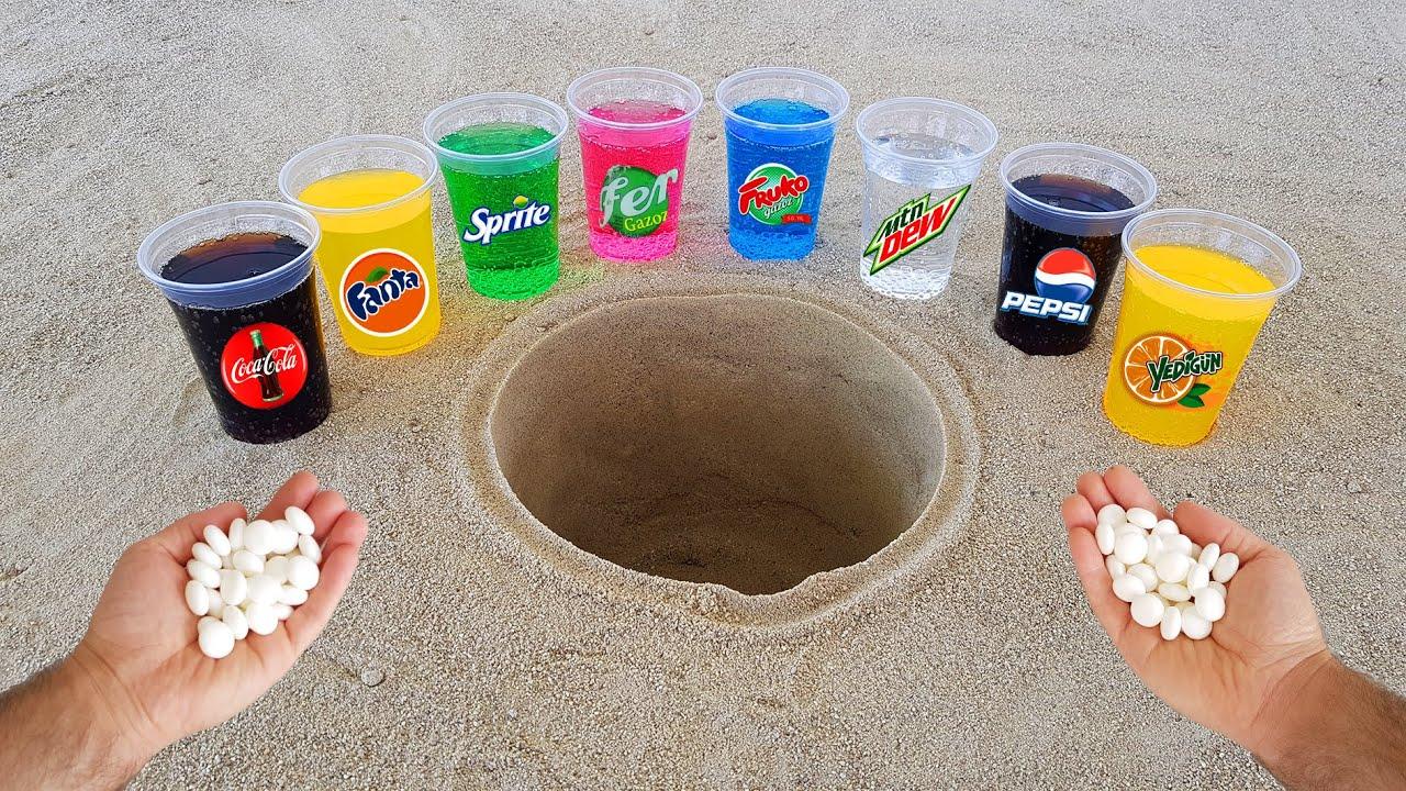 Experiment !! Cola, Pepsi, Fanta, Mtn Dew, Fruko, Sprite, Yedigün and Mentos Underground
