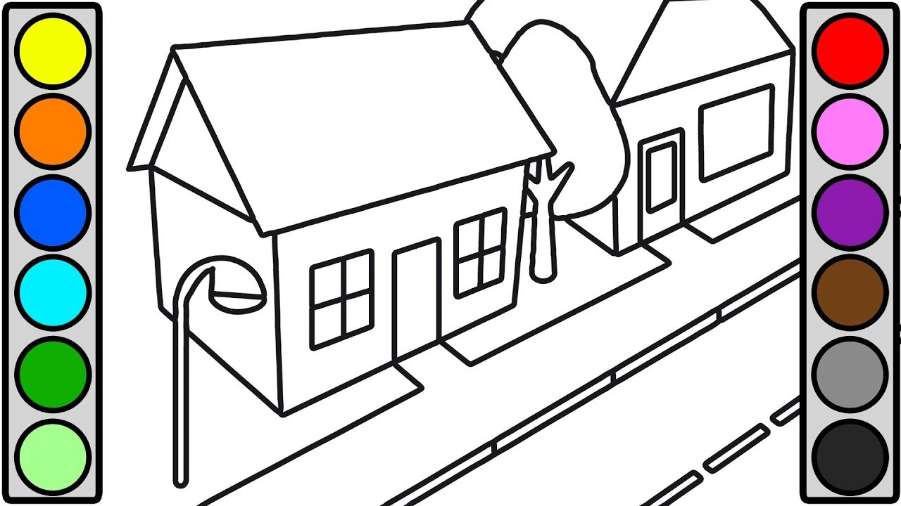 City street house coloring pages for toddlers