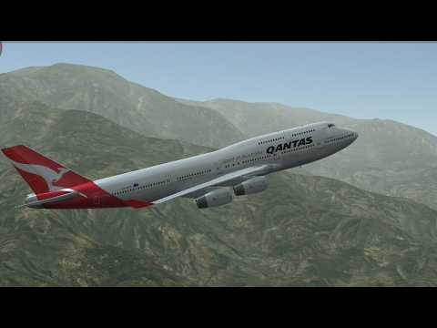 Infinite Flight Simulators broadcast. Qantas Airlines Boeing-747-400/Takeoff Form Palm Springs IntI.