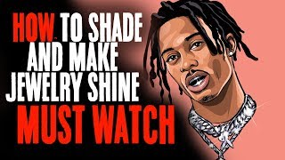 How To Shade And Make Jewelry Shine Must Watch !| Playboi Carti (Adobe Illustrator)