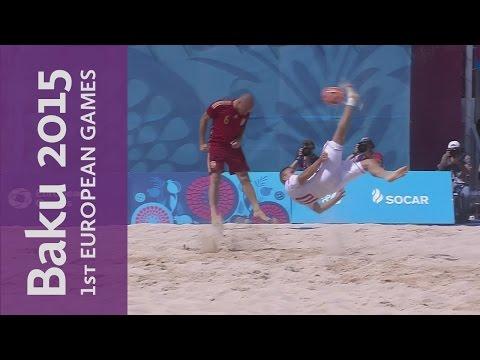 Hungary score a spectacular overhead kick against Spain   Beach Soccer   B