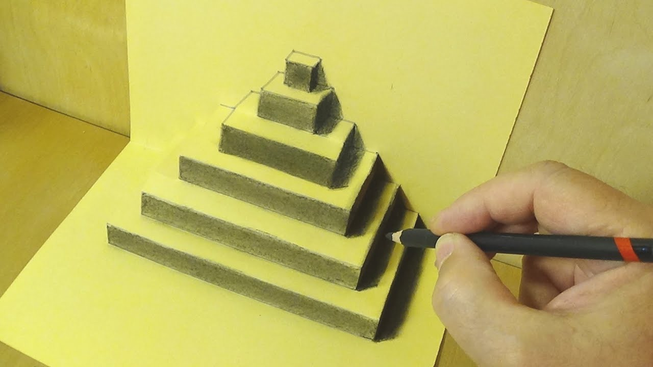 Trick Art Drawing With Pencil The Pyramid Illusion Pop