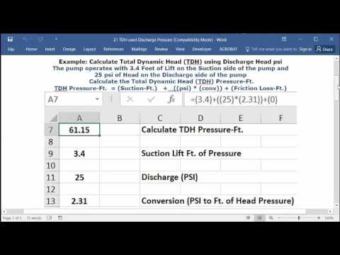 Calculate Total Dynamic Head TDH using Discharge Head psi - YouTube