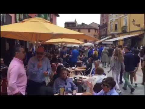 La Afición del Real Oviedo, en las calles de León