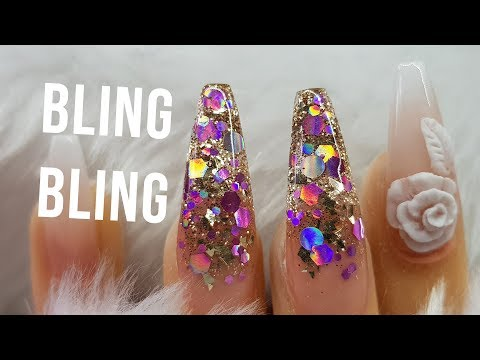 Acrylic Nails | Baby Boomer French Ombre | Glitter Design | Super BLING