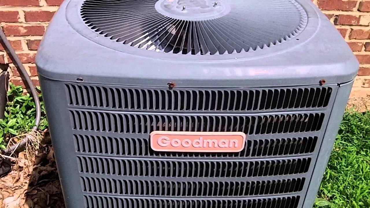 Goodman a c unit with broken fan motor youtube for Fan motor for goodman ac unit