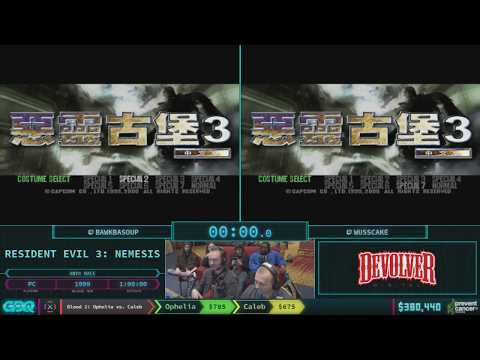 Resident Evil 3: Nemesis by Bawkbasoup and wusscake in 46:42 - AGDQ 2018 - Part 57