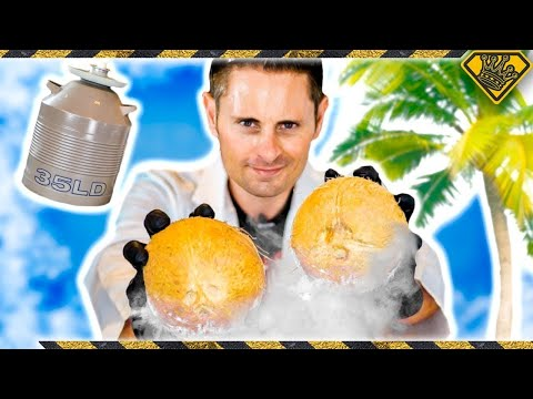 Frozen Coconut Mind Blow! King Of Random Freezing Coconuts And Cracking Them With Liquid Nitrogen!