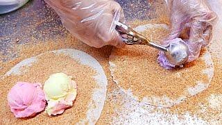 Taiwan Street Food - ICE CREAM BURRITO Strawberry / Vanilla / Taro / Durian