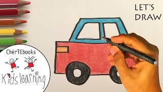 How to Draw an easy CAR for Kids | Let's Draw | Simple Step by Step Drawing Tutorial for Children