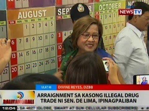 BT: Arraignment sa kasong illegal drug trade ni Sen. De Lima, ipinagpaliban