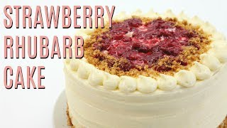 Roasted STRAWBERRY Rhubarb Almond CRUNCH Cake thumbnail