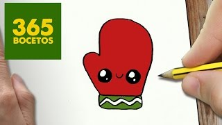 COMO DIBUJAR UN GUANTE PARA NAVIDAD PASO A PASO: Dibujos kawaii navideños - How to draw a glove